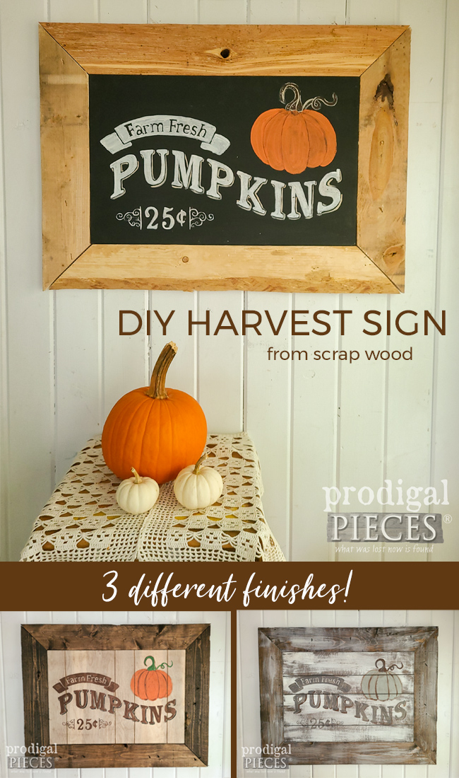 Grab that scrap wood and make a DIY Harvest Sign Tutorial by Larissa of Prodigal Pieces | prodigalpieces.com #prodigalpieces #diy #home #farmhouse #homedecor #diy #upcycled