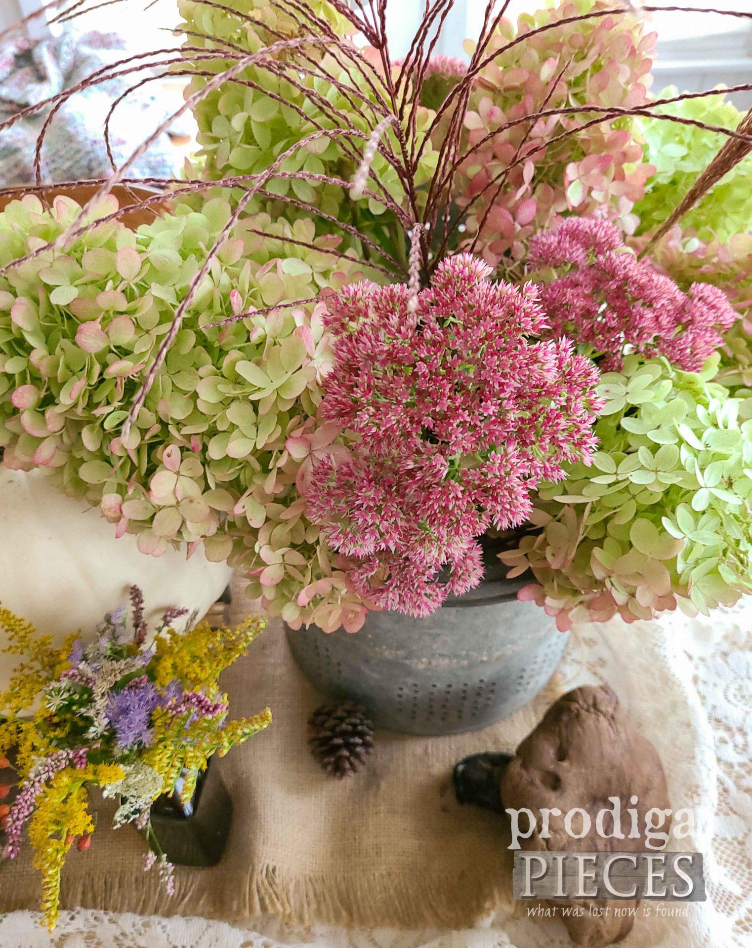 Fall Flower Display in Farmhouse Minnow Bucket by Prodigal Pieces | prodigalpieces.com #prodigalpieces #flowers #farmhouse #fall
