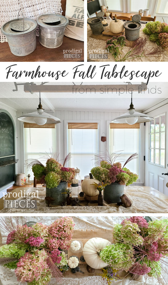 Skip the box store and keep your fall decor simple with this DIY farmhouse tablescape by Larissa of Prodigal Pieces | prodigalpieces.com #prodigalpieces #fall #farmhouse #dining #upcycled