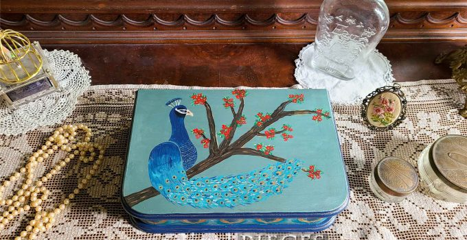 Vintage Jewelry Box Makeover with Peacock Design