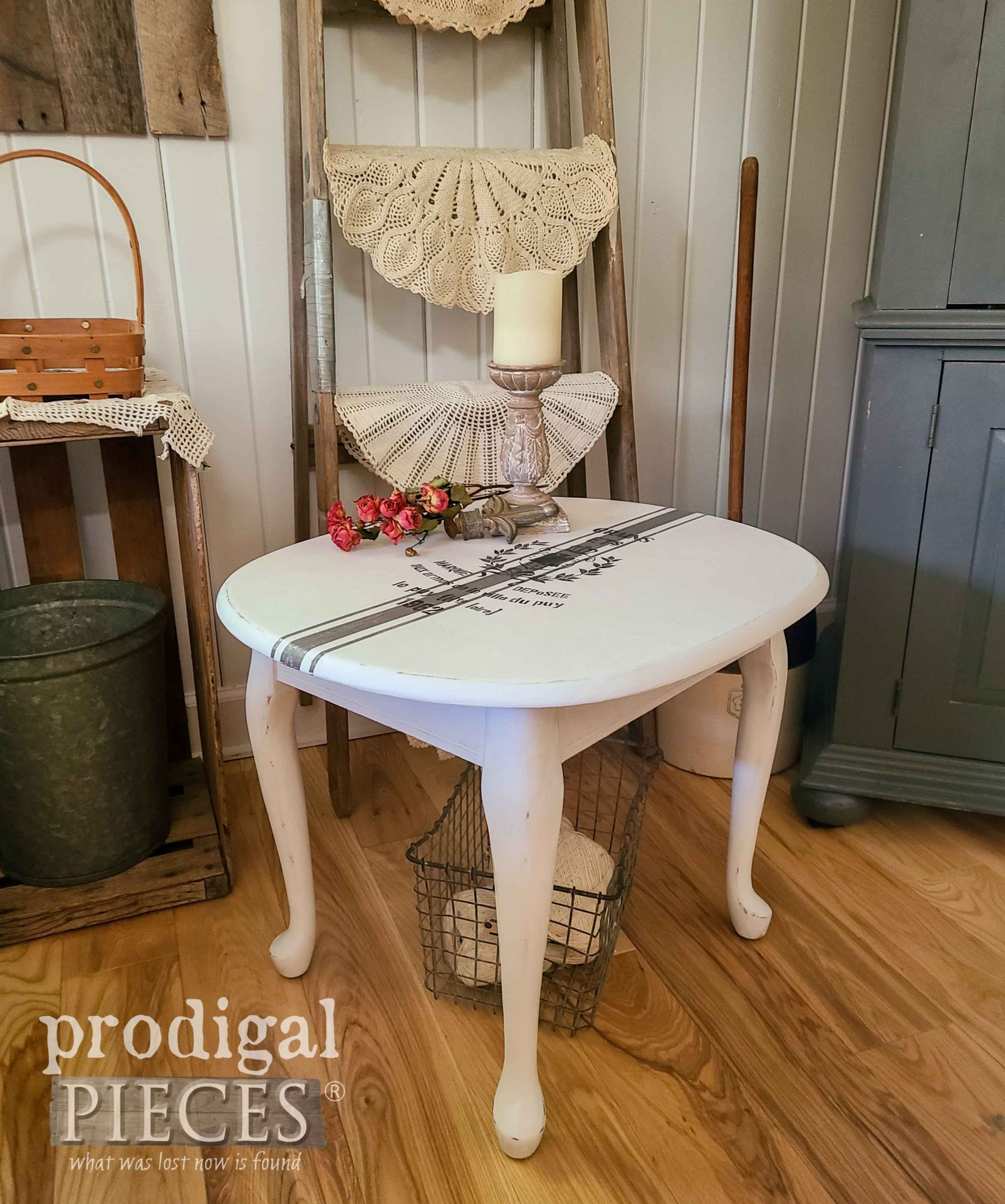 French Farmhouse Painted Side Table with Grain Sack Design by Larissa of Prodigal Pieces | prodigalpieces.com #prodigalpieces #furniture #farmhouse #diy #home