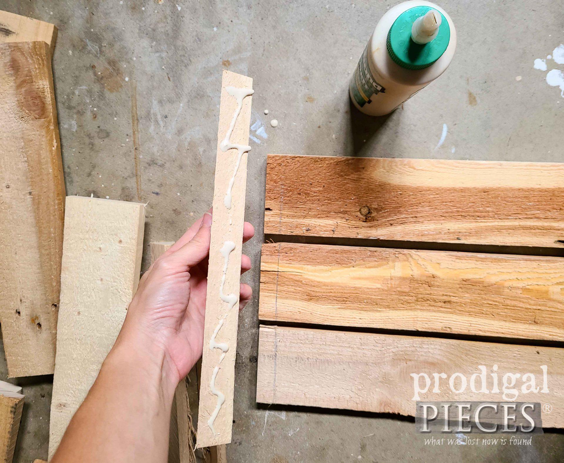 Gluing Antique Pallet Crate by Prodigal Pieces | prodigalpieces.com