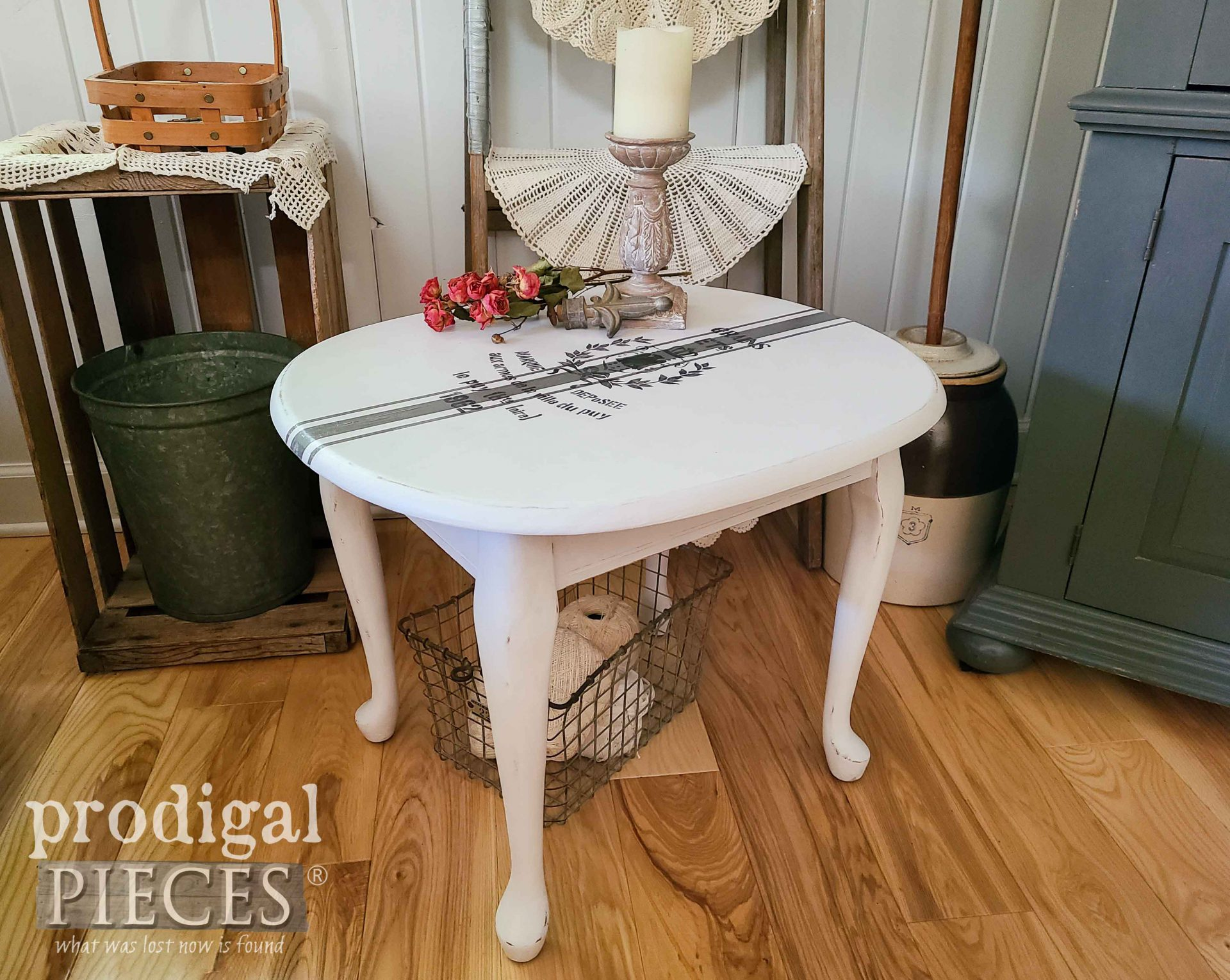 Vintage Painted Side Table in French Farmhouse Grain Sack Style by Larissa of Prodigal Pieces | prodigalpieces.com #prodigalpieces #furniture #home #diy #homedecor #vintage