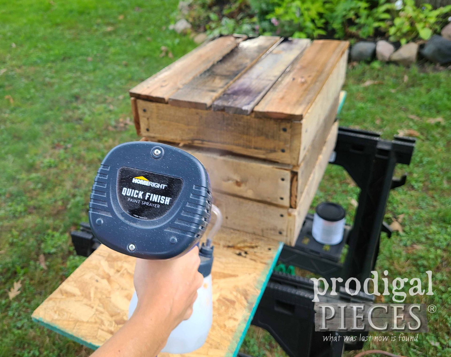 HomeRight Quick Finish Sprayer for DIY Antique Crate from Upcycled Pallets by Larissa of Prodigal Pieces | prodigalpieces.com #prodigalpieces #diy #home #homedecor #tools
