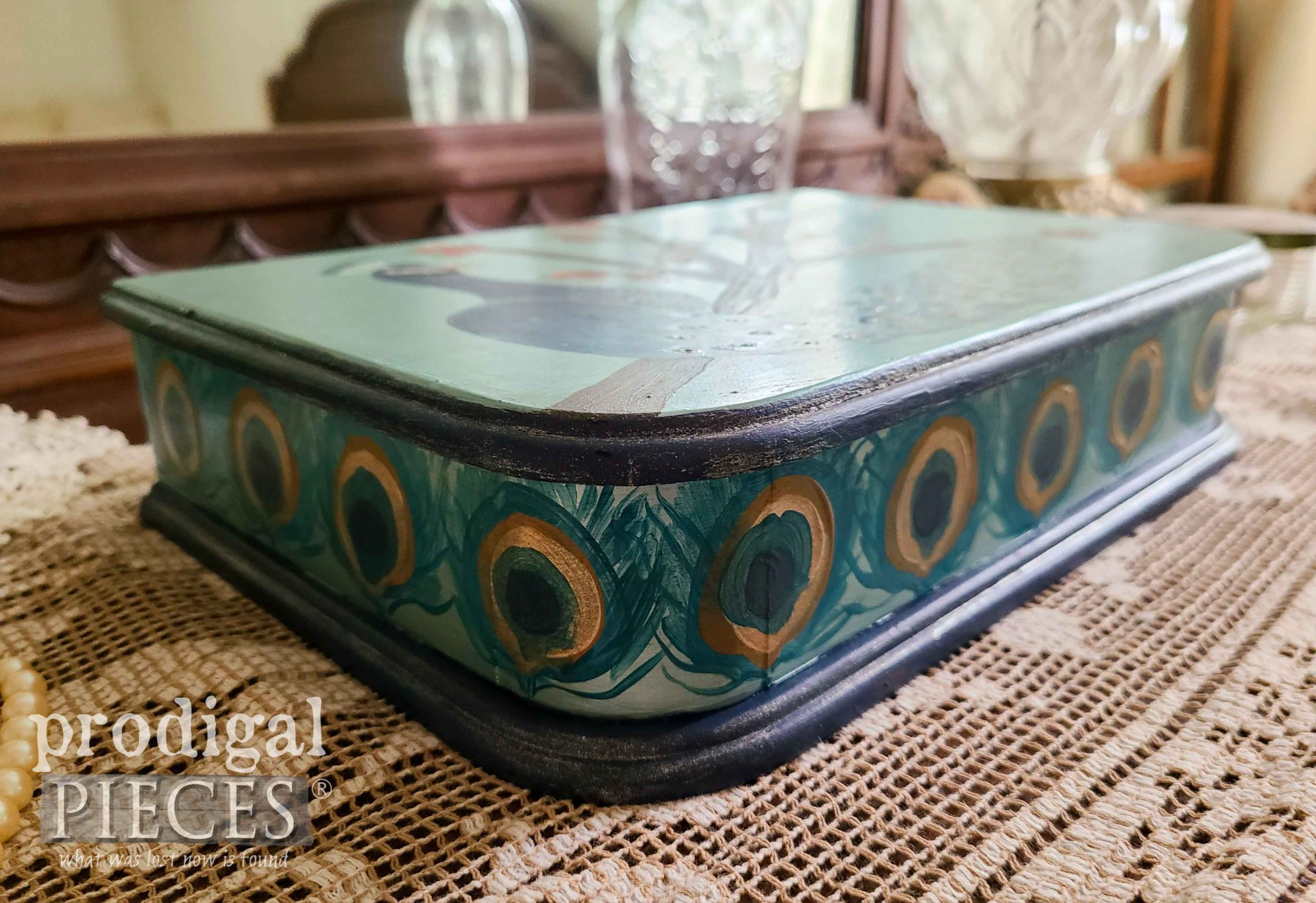 Vintage Jewelry Box with Peacock Motif by Larissa of Prodigal Pieces | prodigalpieces.com #prodigalpieces #diy #handmade #art #home #homedecor