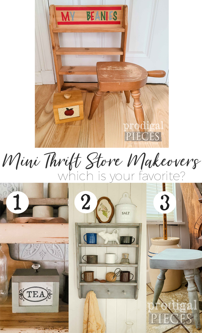 So fun! These three mini thrift store makeovers are easy to do and make great additions to your home. Come see the DIY details at Prodigal Pieces | prodigalpieces.com #prodigalpieces #diy #home #homedecor #farmhouse