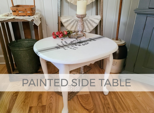 Painted Side Table with Grain Sack Top by Prodigal Pieces | prodigalpieces.com