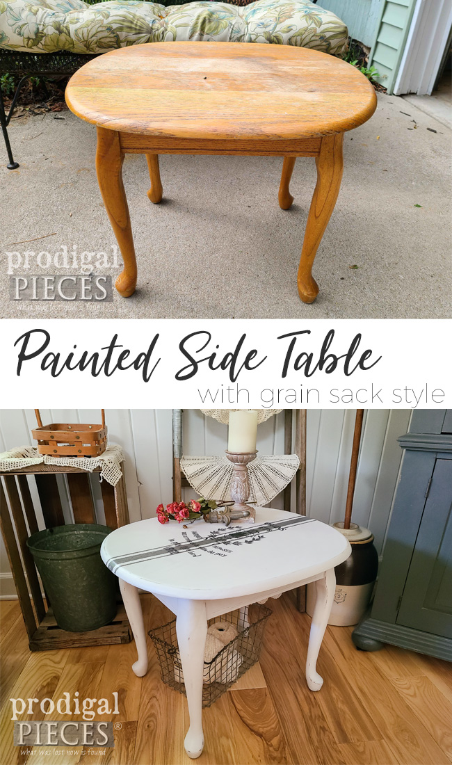 From blah to chic, this vintage painted side table has new life and style by Larissa of Prodigal Pieces | prodigalpieces.com #prodigalpieces #furniture #farmhouse #home #homedecor #diy #vintage