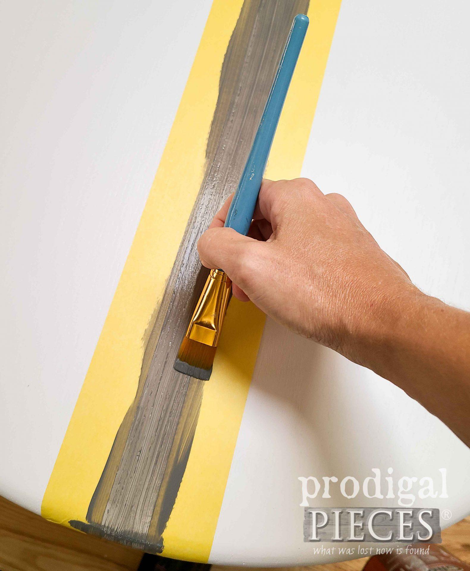 Painting Grain Sack Stripe on Table | prodigalpieces.com