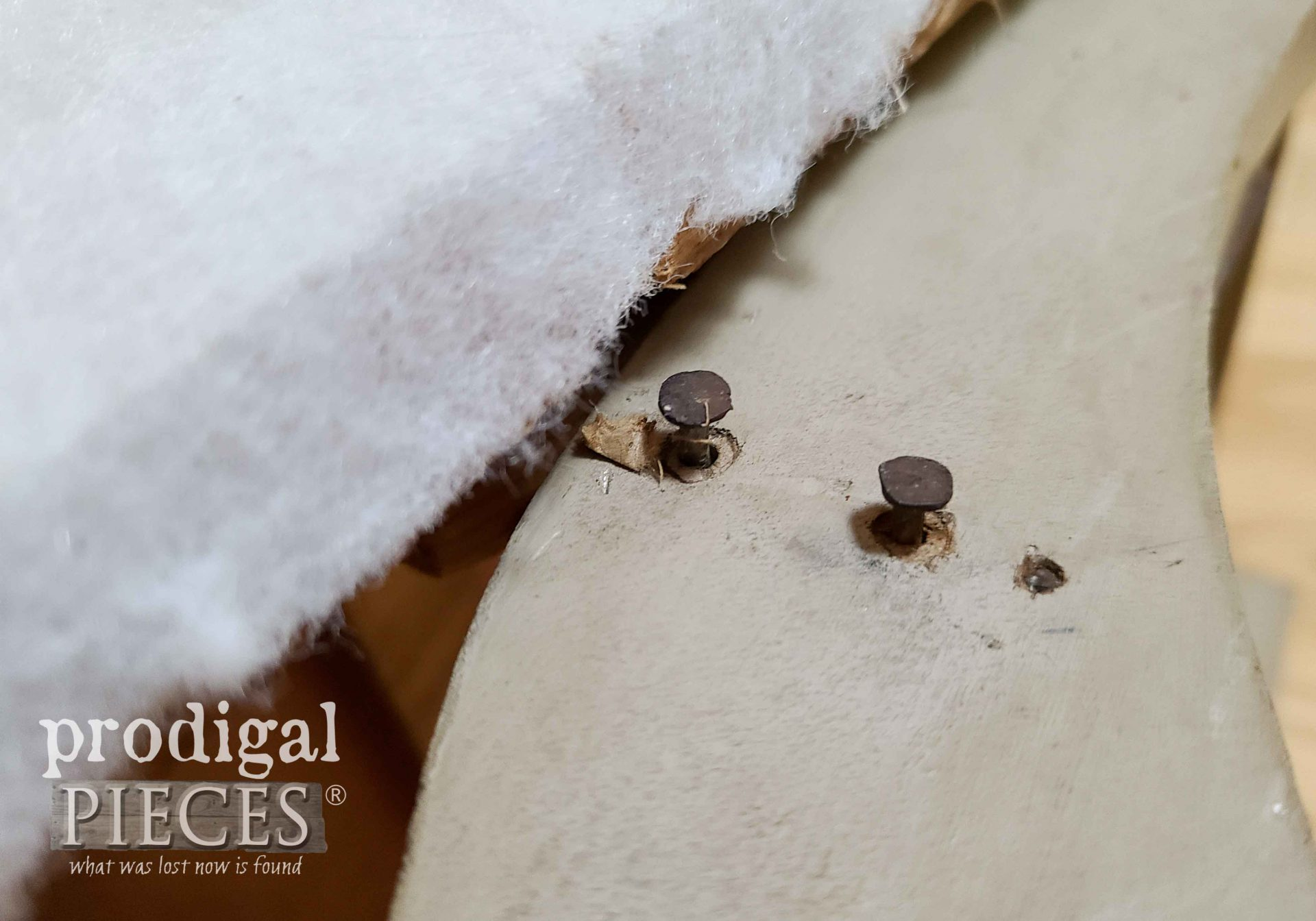 Popped Nails on Child's Upholstered Rocking Chair | prodigalpieces.com