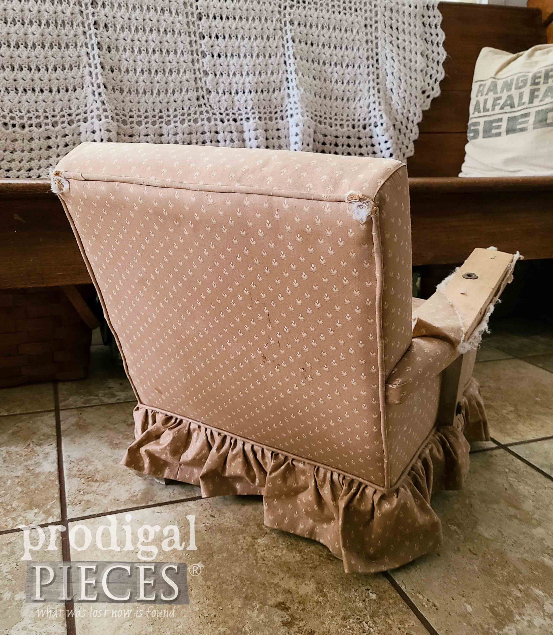 Vintage Child's Upholstered Rocking Chair Back | prodigalpieces.com #prodigalpieces