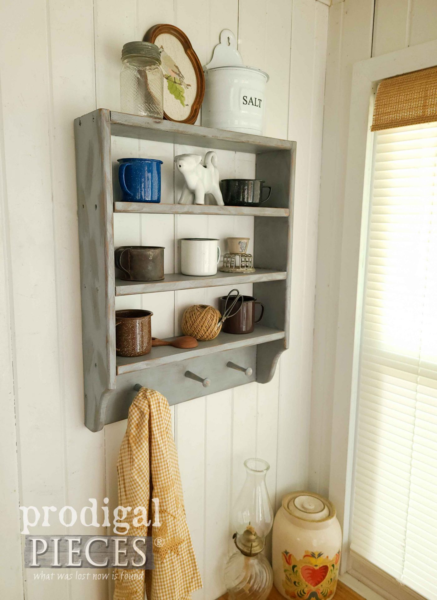 Rustic Blue Farmhouse Shelf with Tin Cup Collection for Mini Thrift Store Makeovers by Prodigal Pieces | prodigalpieces.com #prodigalpieces #farmhouse #home #homedecor #diy