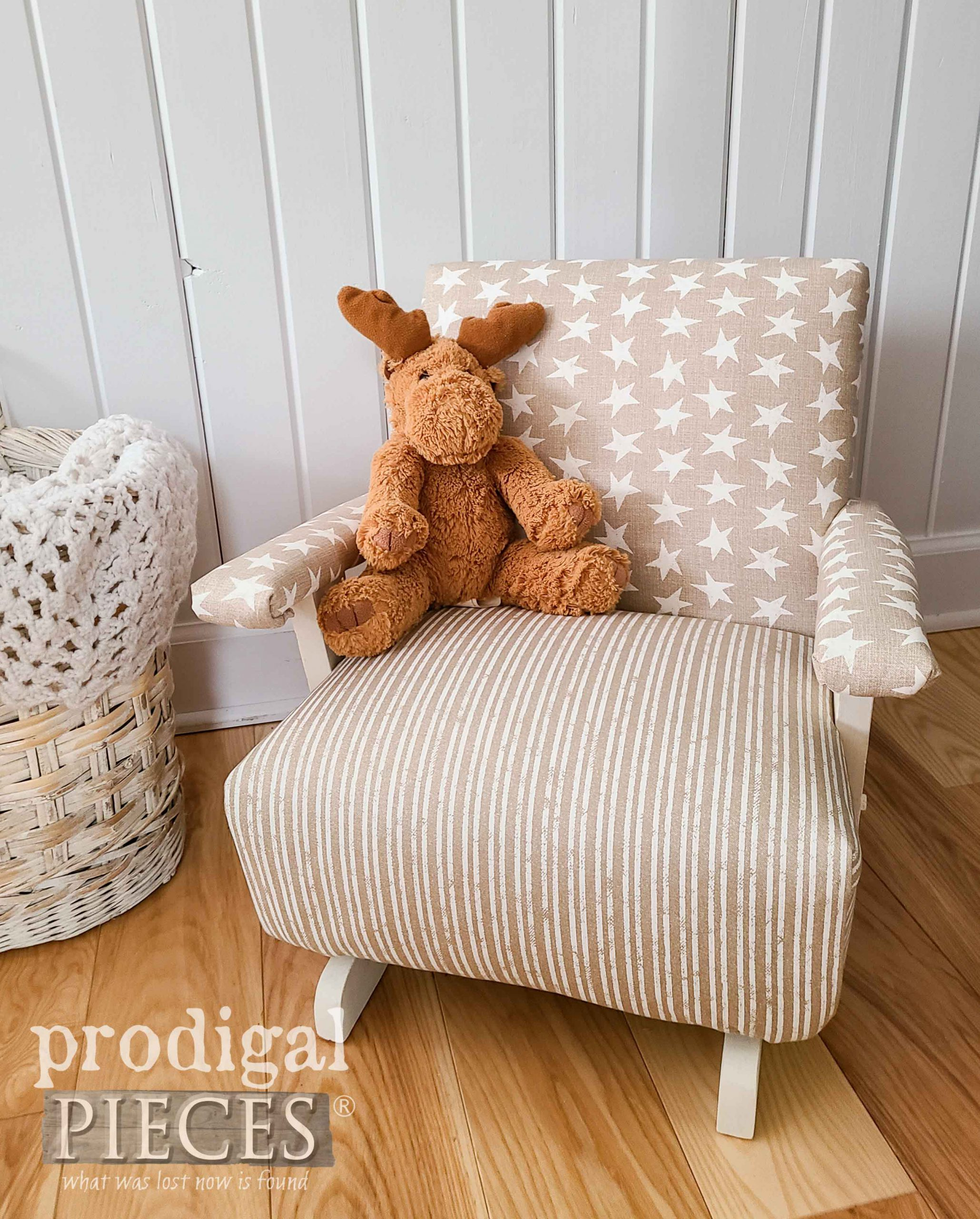 Stars & Stripes Child's Upholstered Rocking Chair by Larissa of Prodigal Pieces | prodigalpieces.com #prodigalpieces #diy #furniture #home #homedecor #vintage