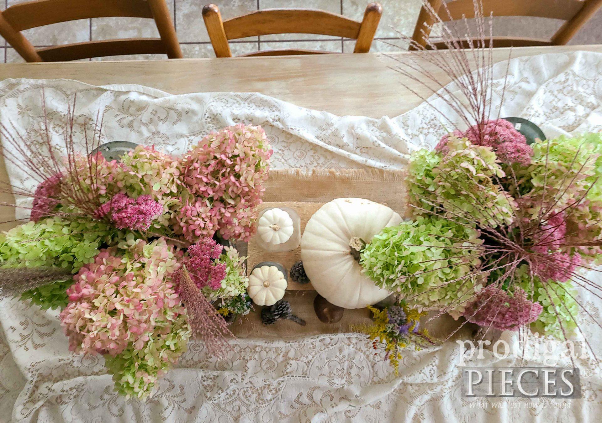 Table Top Fall Farmhouse Tablescape by Larissa of Prodigal Pieces | prodigalpieces.com #prodigalpieces #farmhouse #fall #autumn #diy #homedecor