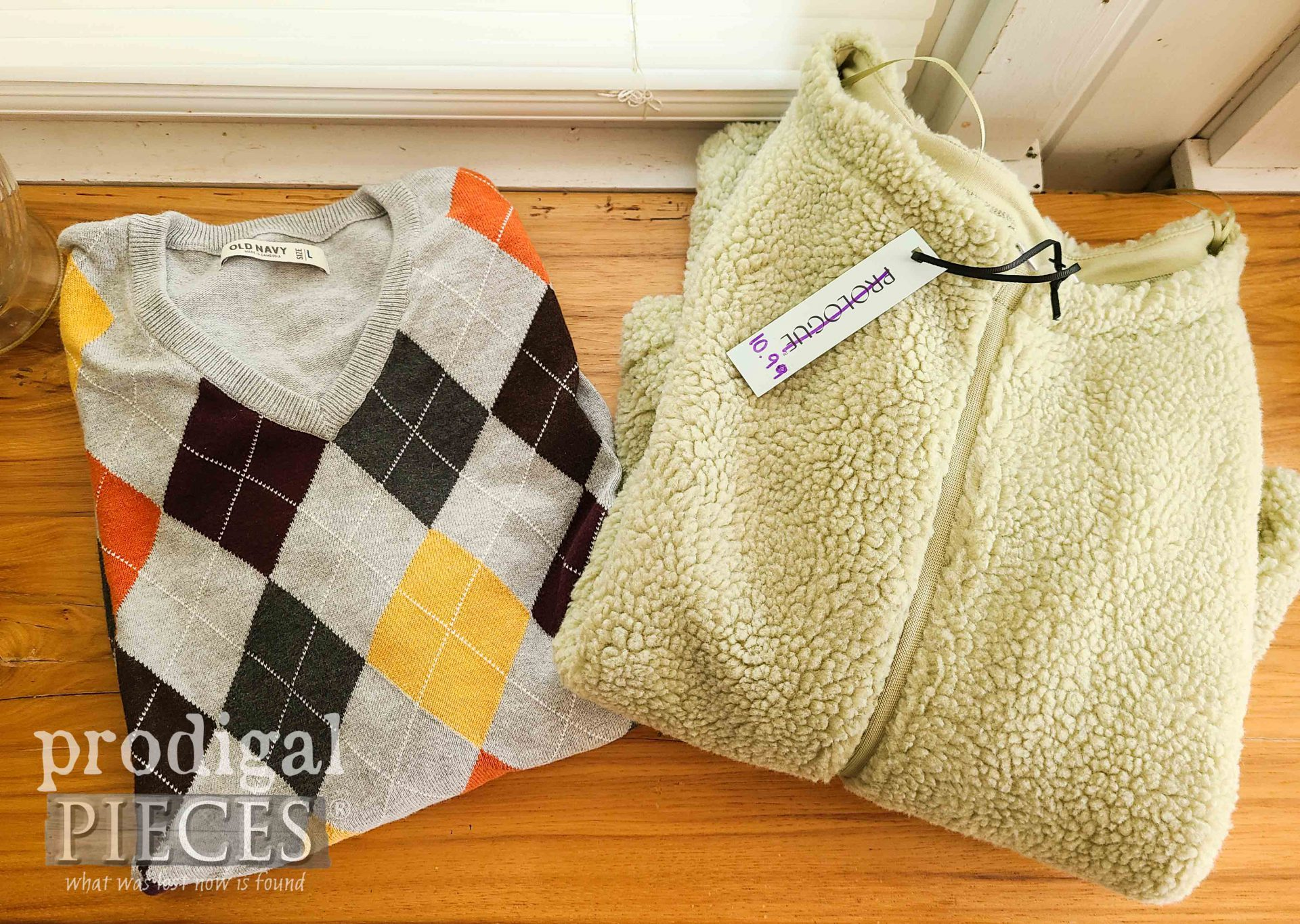 Thrifted Sweaters Before Upcycle by Prodigal Pieces | prodigalpieces.com #prodigalpieces