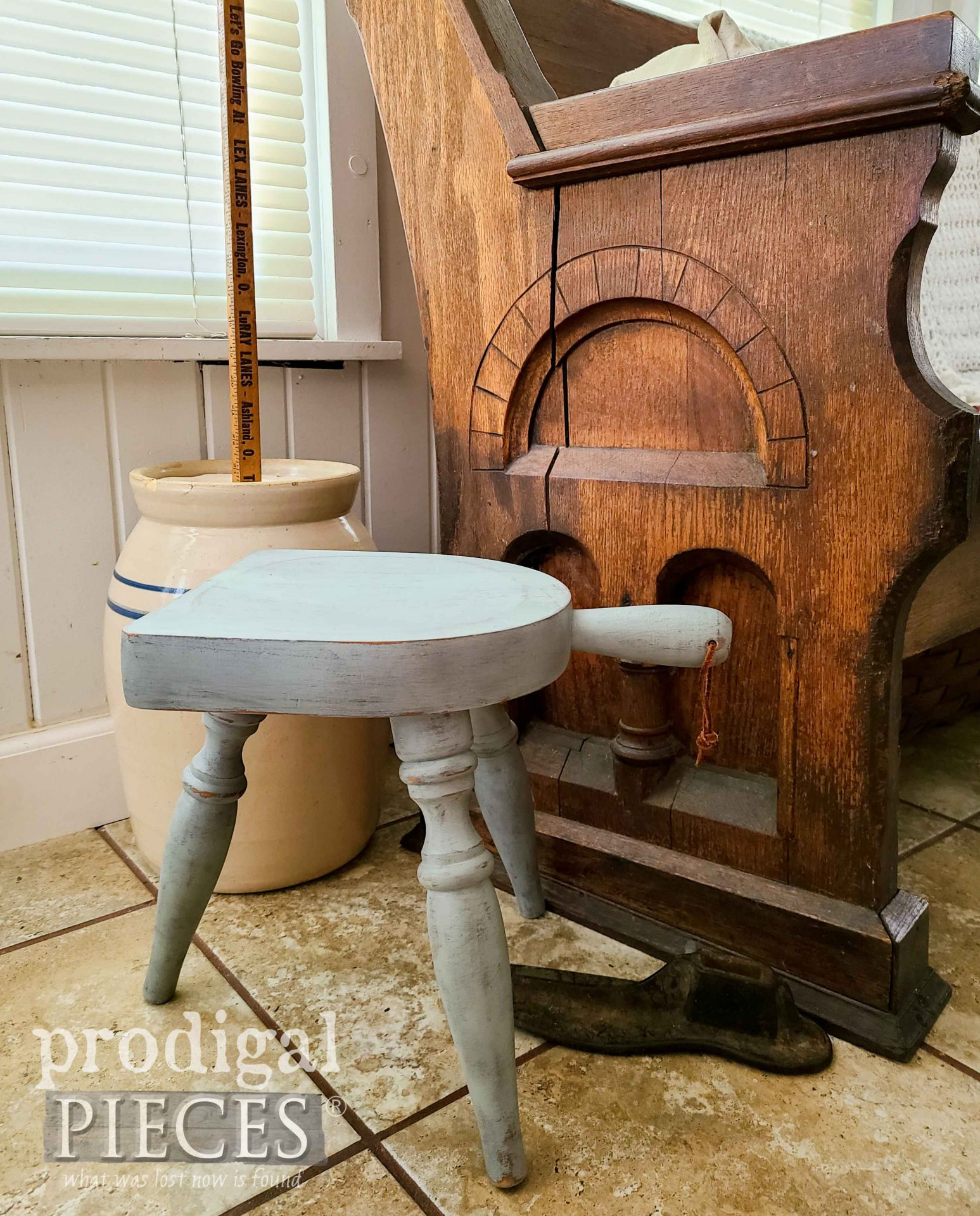 Vintage Farmhouse Milking Stool in Chippy Green Paint by Prodigal Pieces | prodigalpieces.com #prodigalpieces #farmhouse #home #homedecor