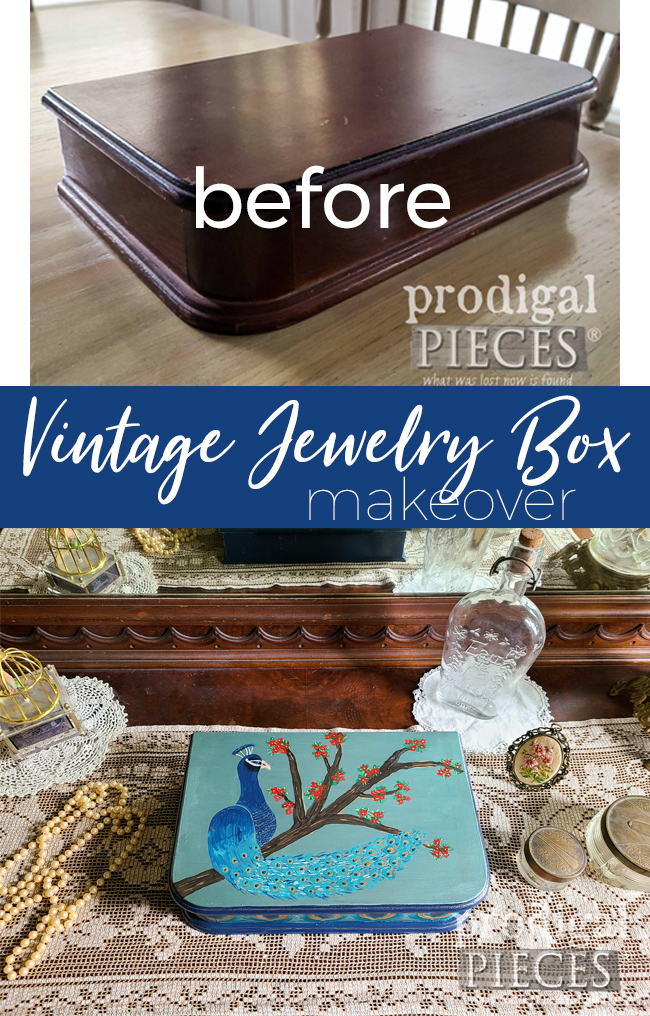 So fun! This vintage jewelry box has new life with a peacock motif. See the DIY by Prodigal Pieces at prodigalpieces.com #prodigalpieces #diy #home #homedecor #jewelry #vintage