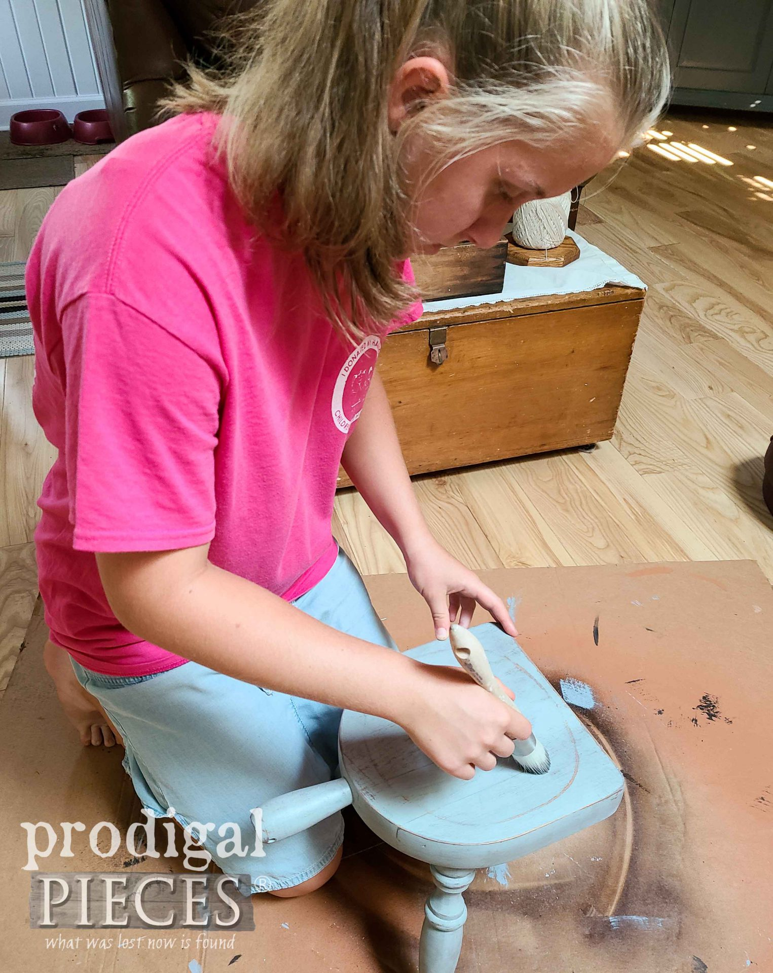 Waxing Farmhouse Milking Stool | prodigalpieces.com