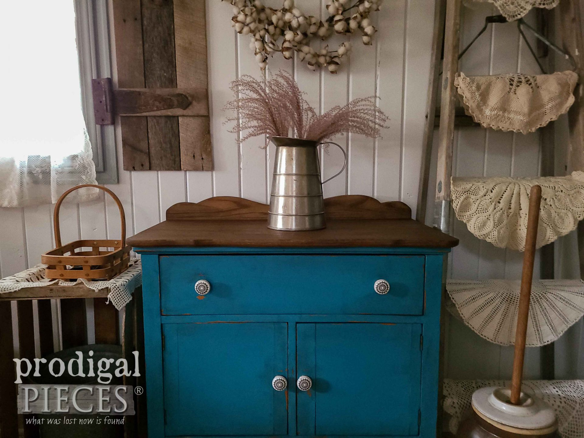 Antique Blue Wash Stand Makeover by Larissa of Prodigal Pieces | prodigalpieces.com #prodigalpieces #farmhouse #furniture #antique