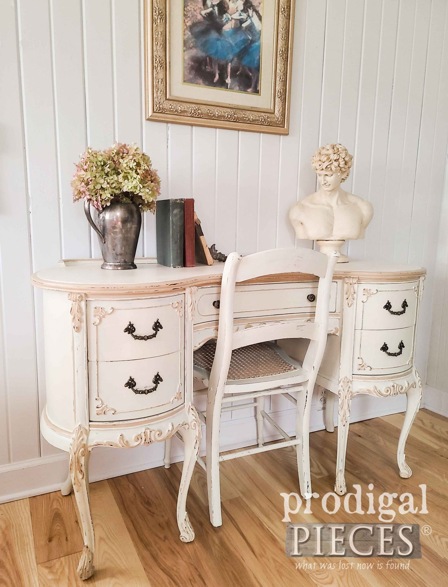 Antique White French Provincial Desk and Chair by Larissa of Prodigal Pieces | prodigalpieces.com #prodigalpieces #vintage #desk #furniture #home #homedecor