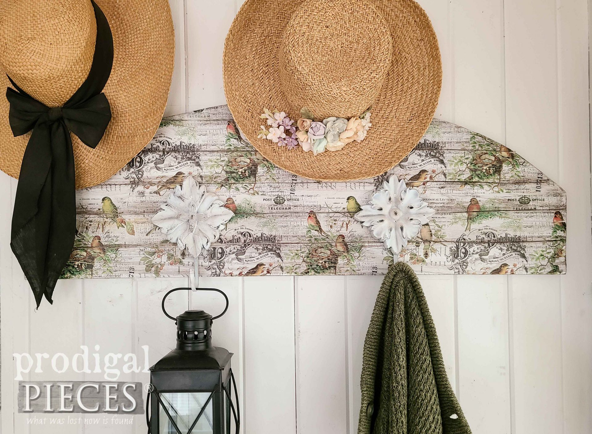 Cottage Style DIY Decoupage Coat Rack with Birds and Typography by Larissa of Prodigal Pieces | prodigalpieces.com #prodigalpieces #diy #home #homedecor #cottage