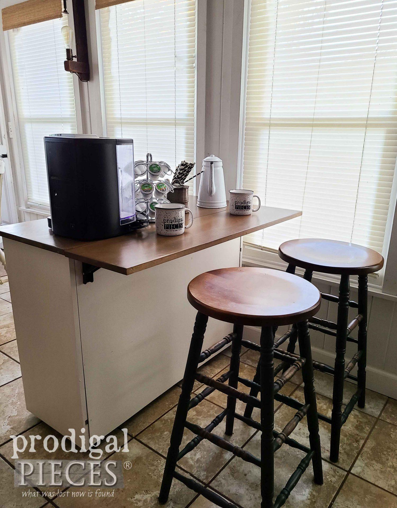 DIY Coffee Bar with Stool Setup by Larissa of Prodigal Pieces | prodigalpieces.com #prodigalpieces #diy #home #furniture #farmhouse #homedecor