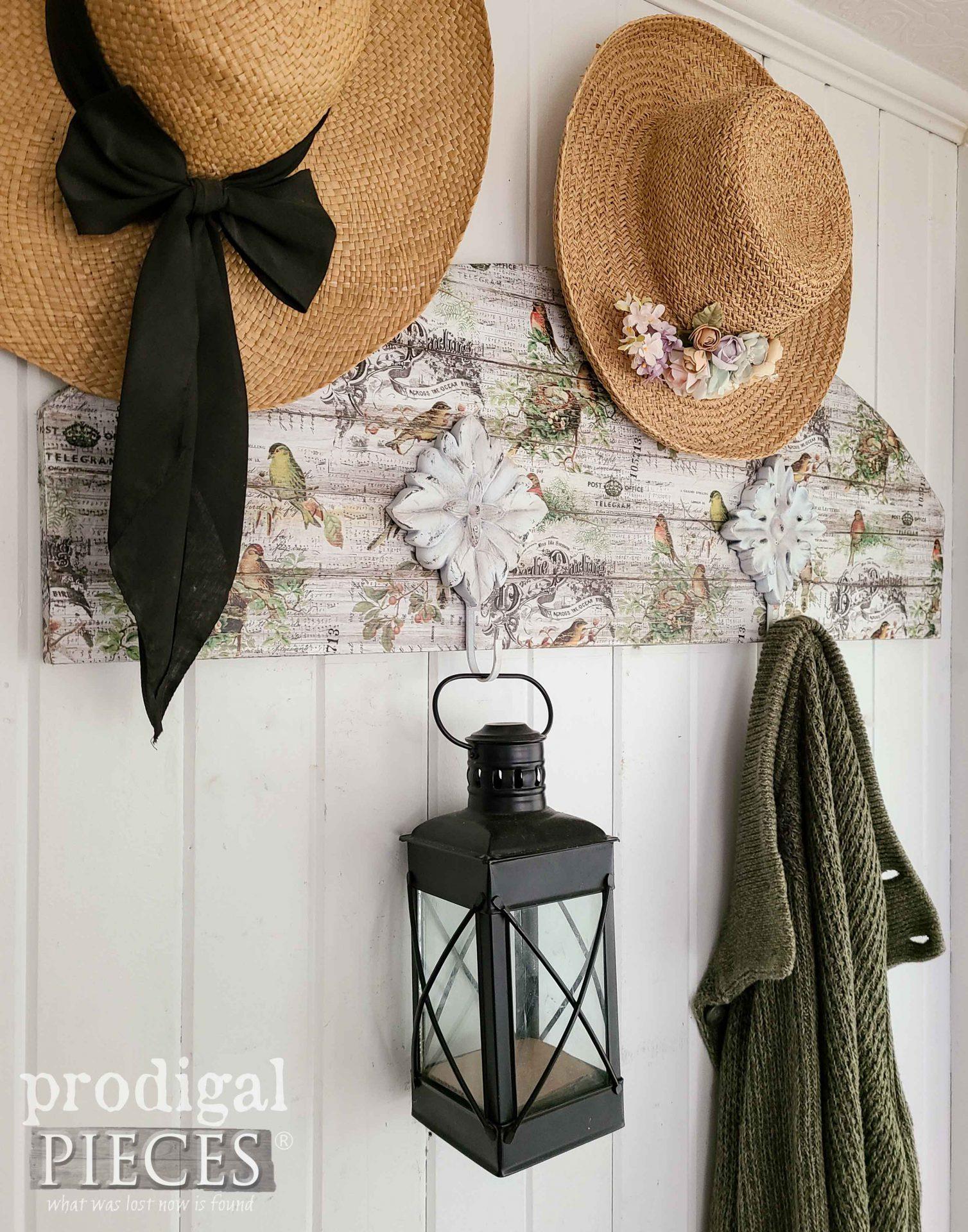 Cottage Chic DIY Decoupage Coat Rack by Larissa of Prodigal Pieces | prodigalpieces.com #prodigalpieces #cottage #home #homedecor