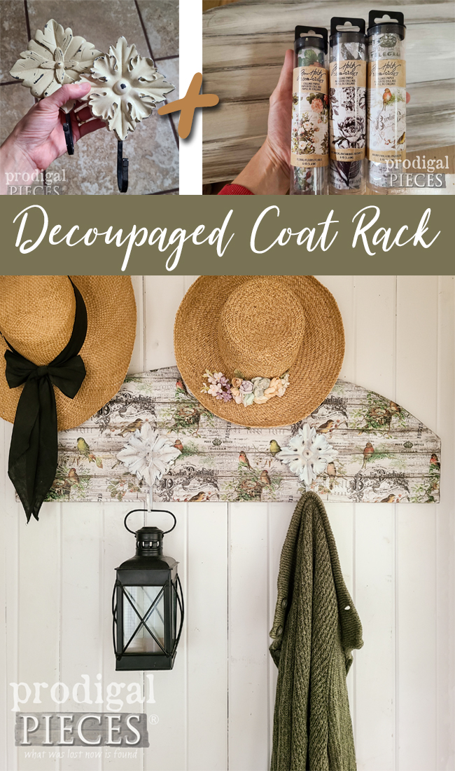 Create a DIY Decoupaged Coat Rack with Thrifted Finds and Wood Scraps | Details at Prodigal Pieces | prodigalpieces.com #prodigalpieces #diy #home #homedecor #woodworking