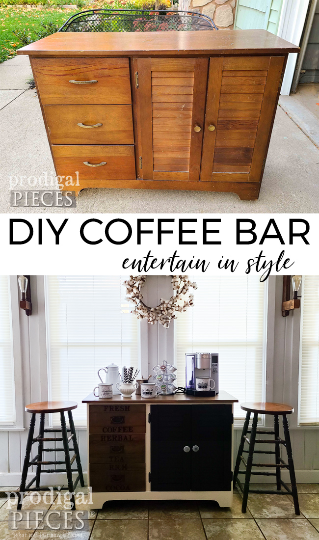DIY Coffee Bar with Modern Farmhouse Flair by Larissa of Prodigal Pieces | prodigalpieces.com #prodigalpieces #furniture #diy #home #homedecor #coffee #entertaining