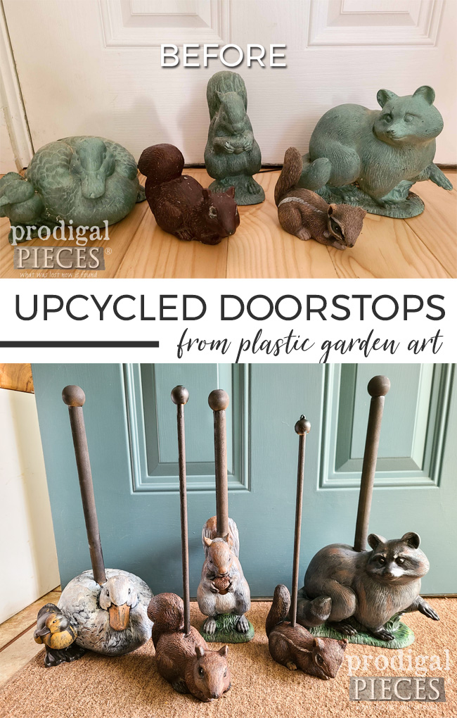 DIY Upcycled Doorstops from Plastic Garden Art by Larissa of Prodigal Pieces | prodigalpieces.com #prodigalpieces #diy #upcycled #home #homedecor