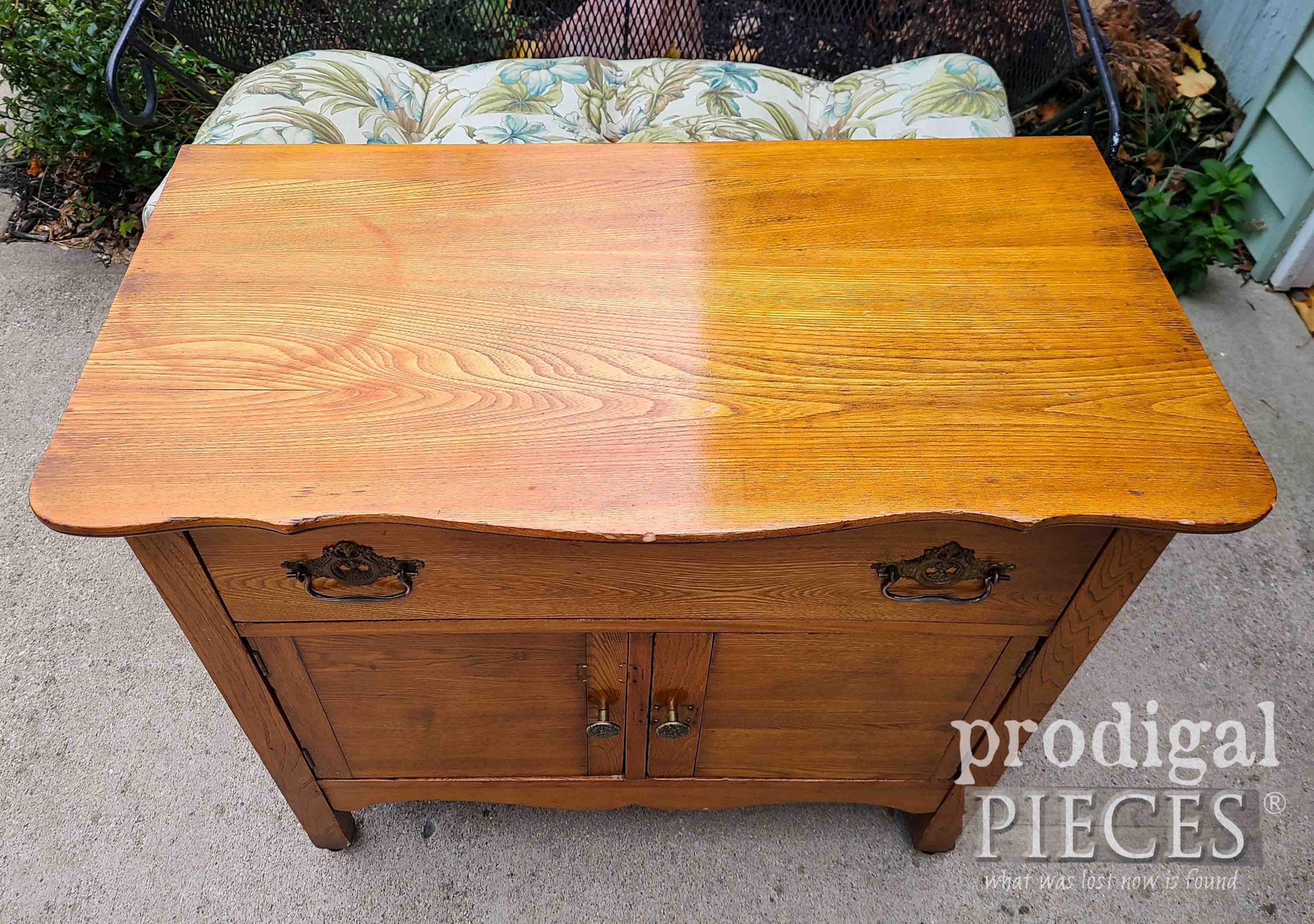Farmhouse Wash Stand Top with Damage   prodigalpieces.com