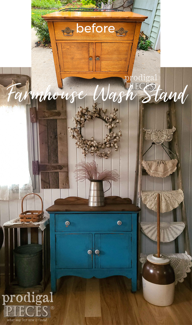 This damaged and dated Farmhouse Wash Stand now has a timeless updated style | DIY details by Larissa of Prodigal Pieces at prodigalpieces.com #prodigalpieces #farmhouse #furniture #antique #home #homedecor