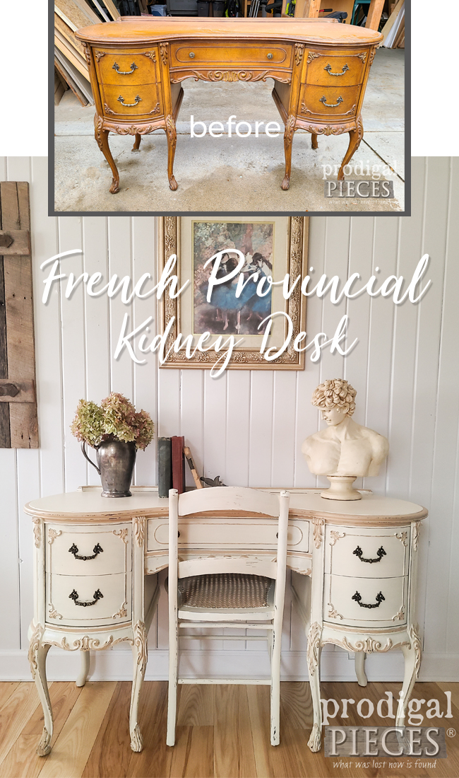 What a beautiful transformation of a vintage French provincial kidney desk in Hollywood regency style by Larissa of Prodigal Pieces | prodigalpieces.com #prodigalpieces #furniture #diy #vintage #shabbychic #frenchprovincial