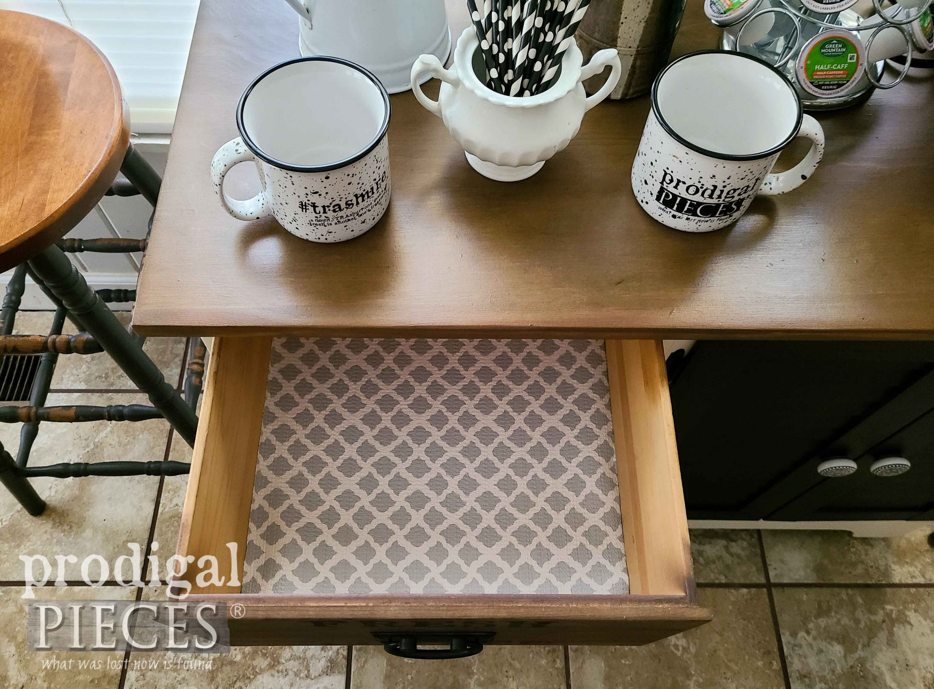 Paper Lined DIY Coffee Bar Drawer by Larissa of Prodigal Pieces | prodigalpieces.com #prodigalpieces #farmhouse #furniture #home #homedecor