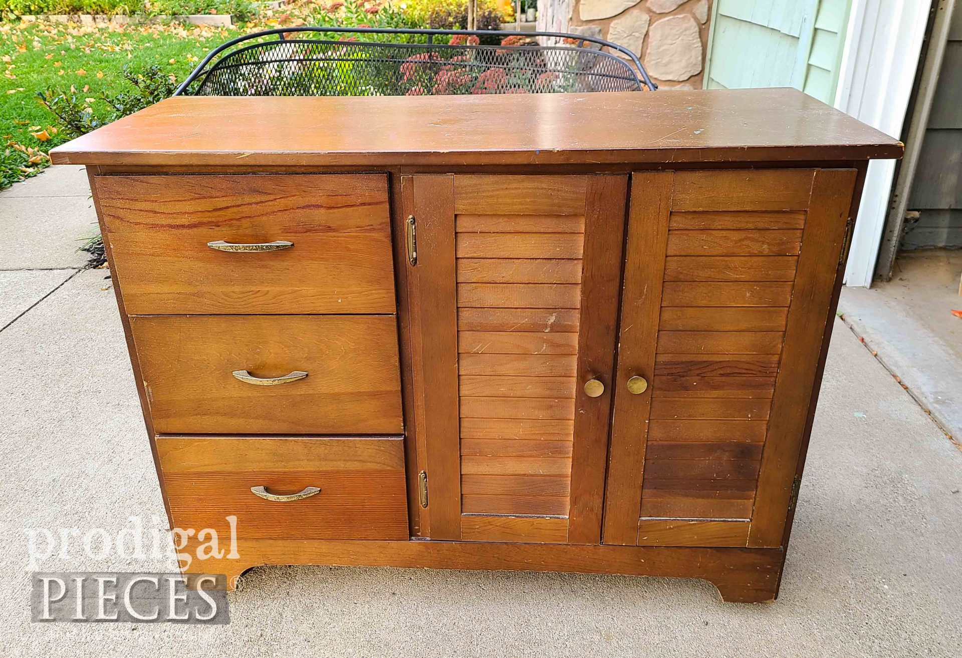 Louvered Cabinet Before by Prodigal Pieces | prodigalpieces.com