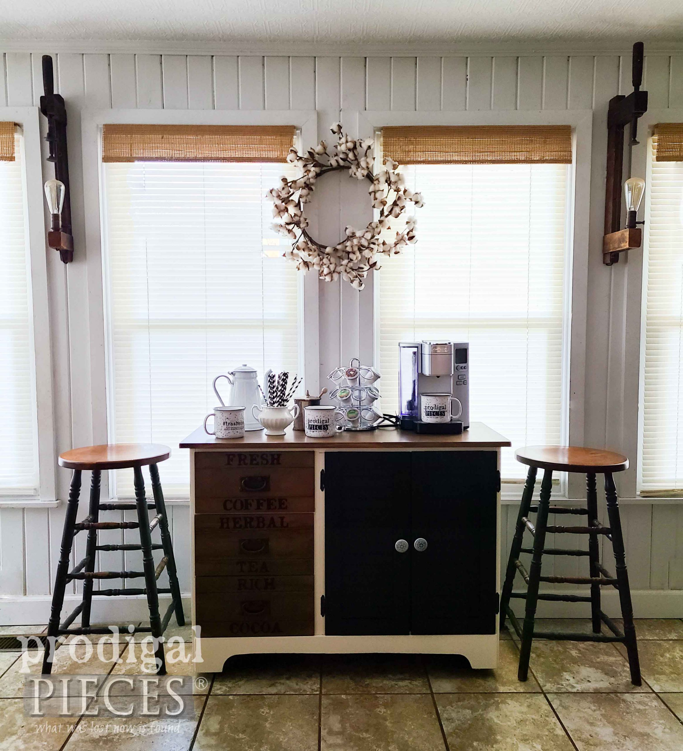 Modern Farmhouse Coffee Bar from Upcycled Cabinet by Larissa of Prodigal Pieces | prodigalpieces.com #prodigalpieces #furniture #coffee #entertaining #holidays #furniture #home #homedecor