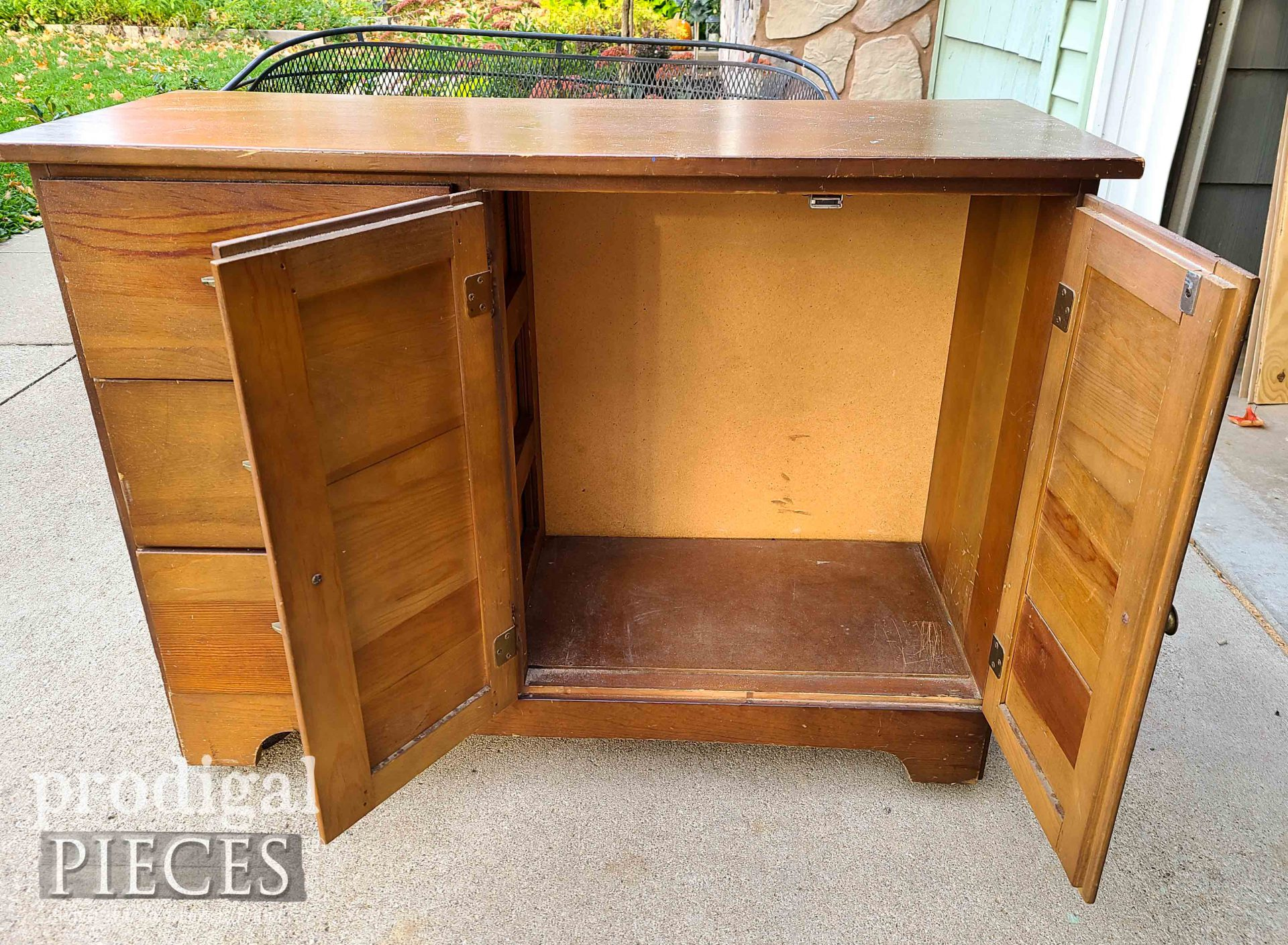 Open Cabinet Before DIY Coffee Bar | prodigalpieces.com
