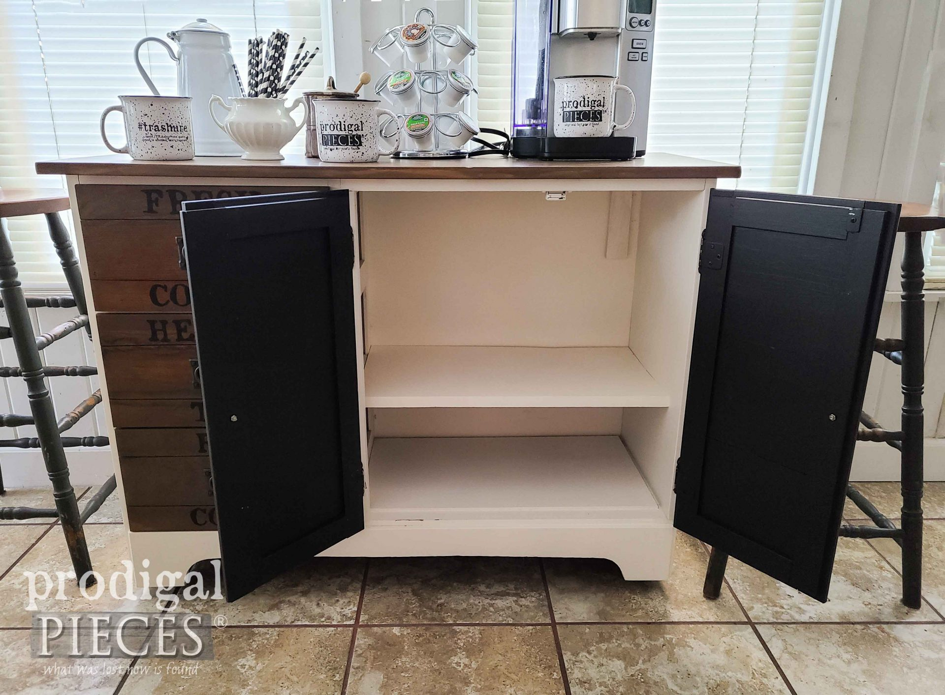 Open DIY Coffee Bar Cabinet by Larissa of Prodigal Pieces | prodigalpieces.com #prodigalpieces #diy #home #furniture #homedecor