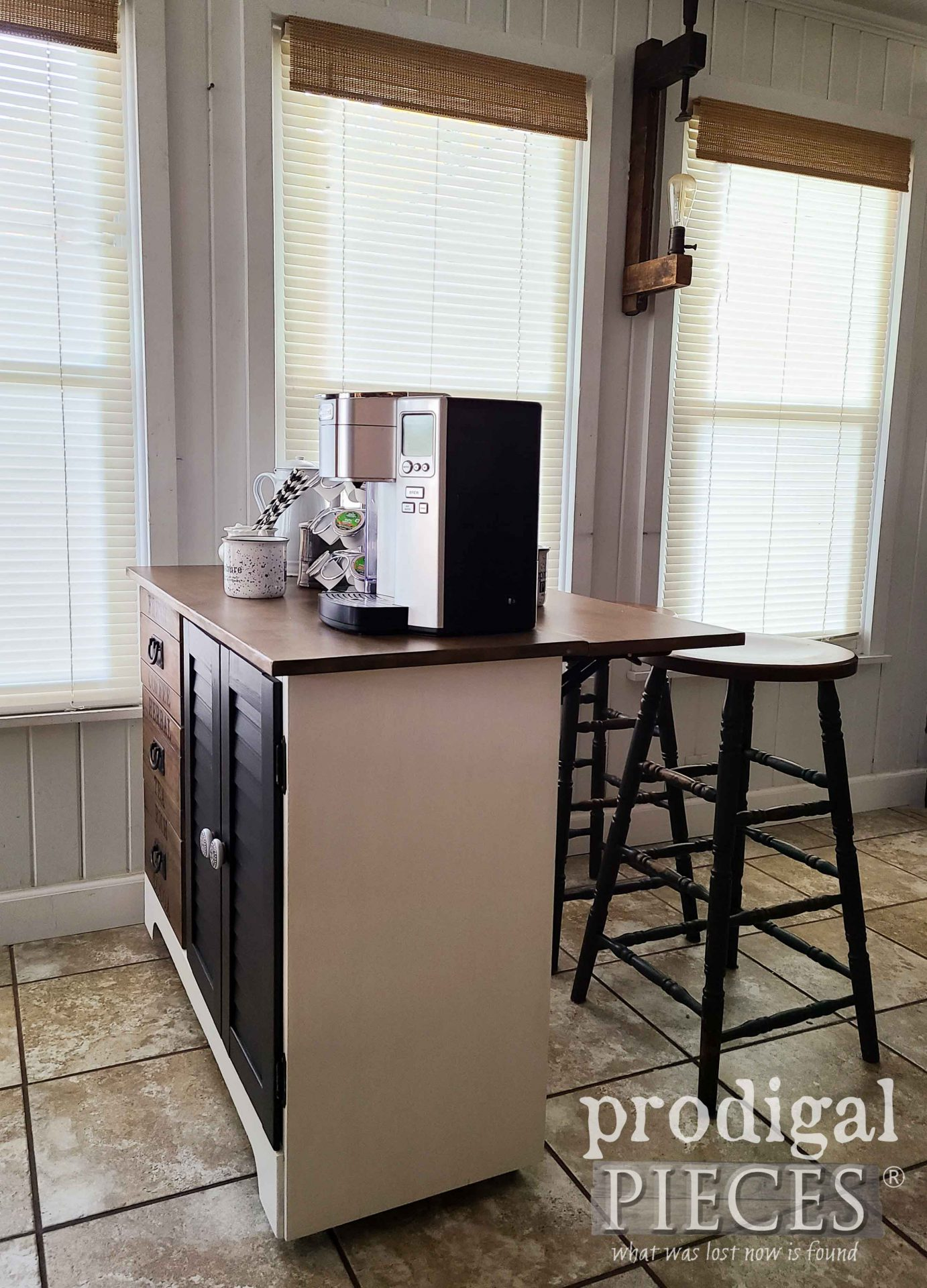 Open DIY Coffee Bar with Leaf Extension by Larissa of Prodigal Pieces | prodigalpieces.com #prodigalpieces #farmhouse #home