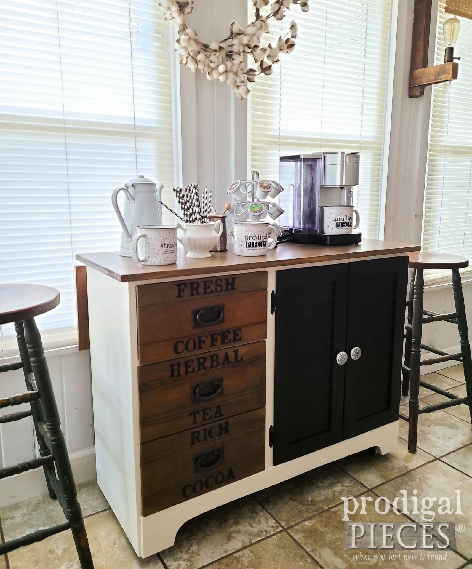 Rustic Farmhouse Coffee Bar by Larissa of Prodigal Pieces | prodigalpieces.com #prodigalpieces #diy #home #furniture #entertaining #kitchen #homedecor
