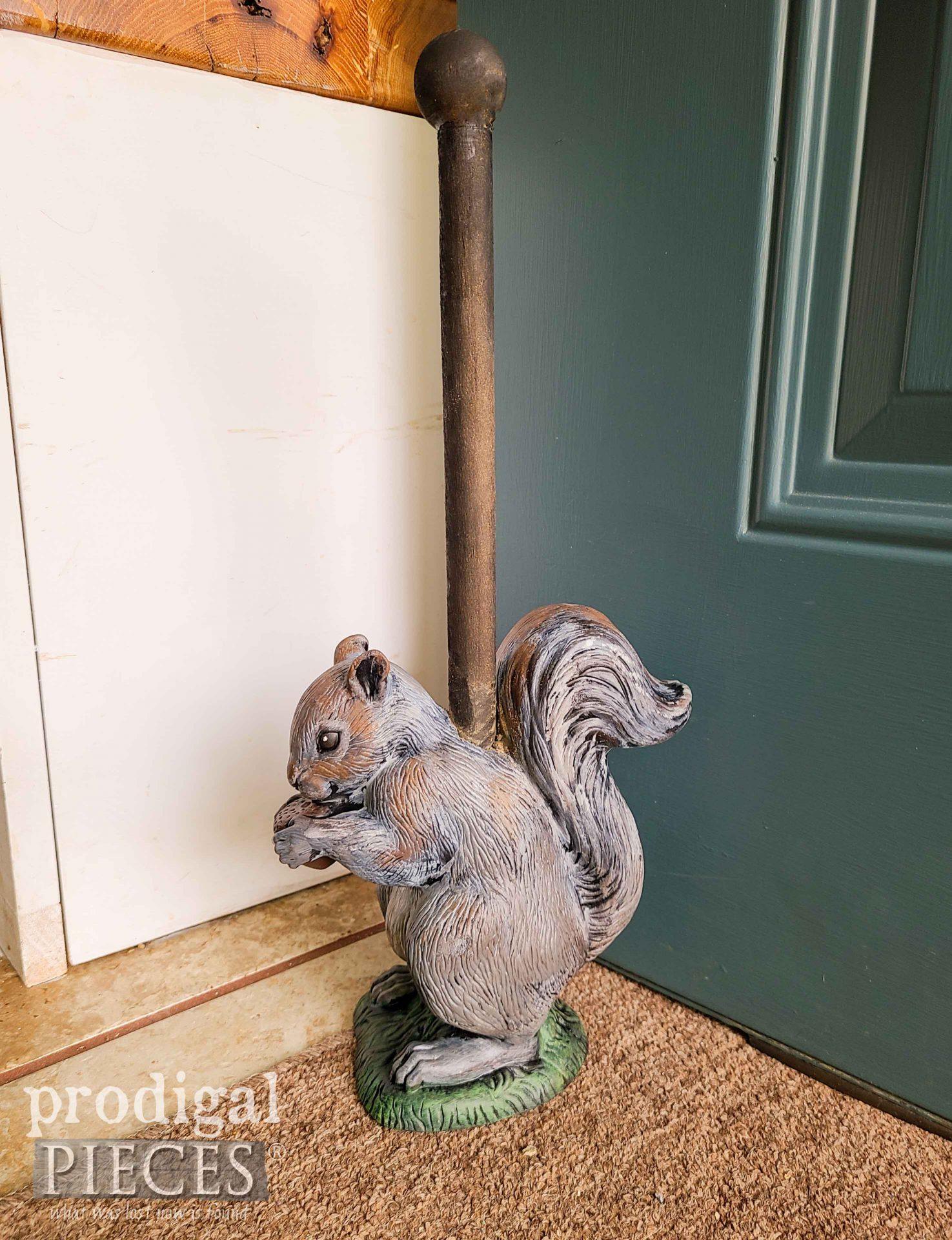 Rustic Gray Squirrel Doorstop by Larissa of Prodigal Pieces | prodigalpieces.com #prodigalpieces #handmade #home #homedecor #diy
