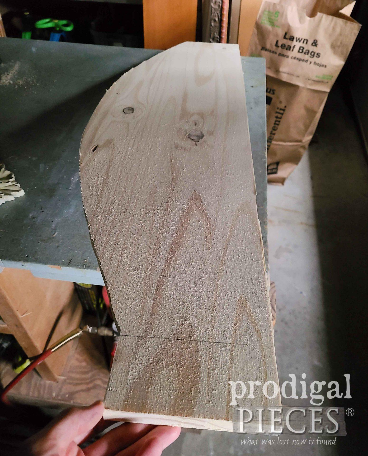 Scrap Wood Before DIY Decoupaged Coat Rack | prodigalpieces.com