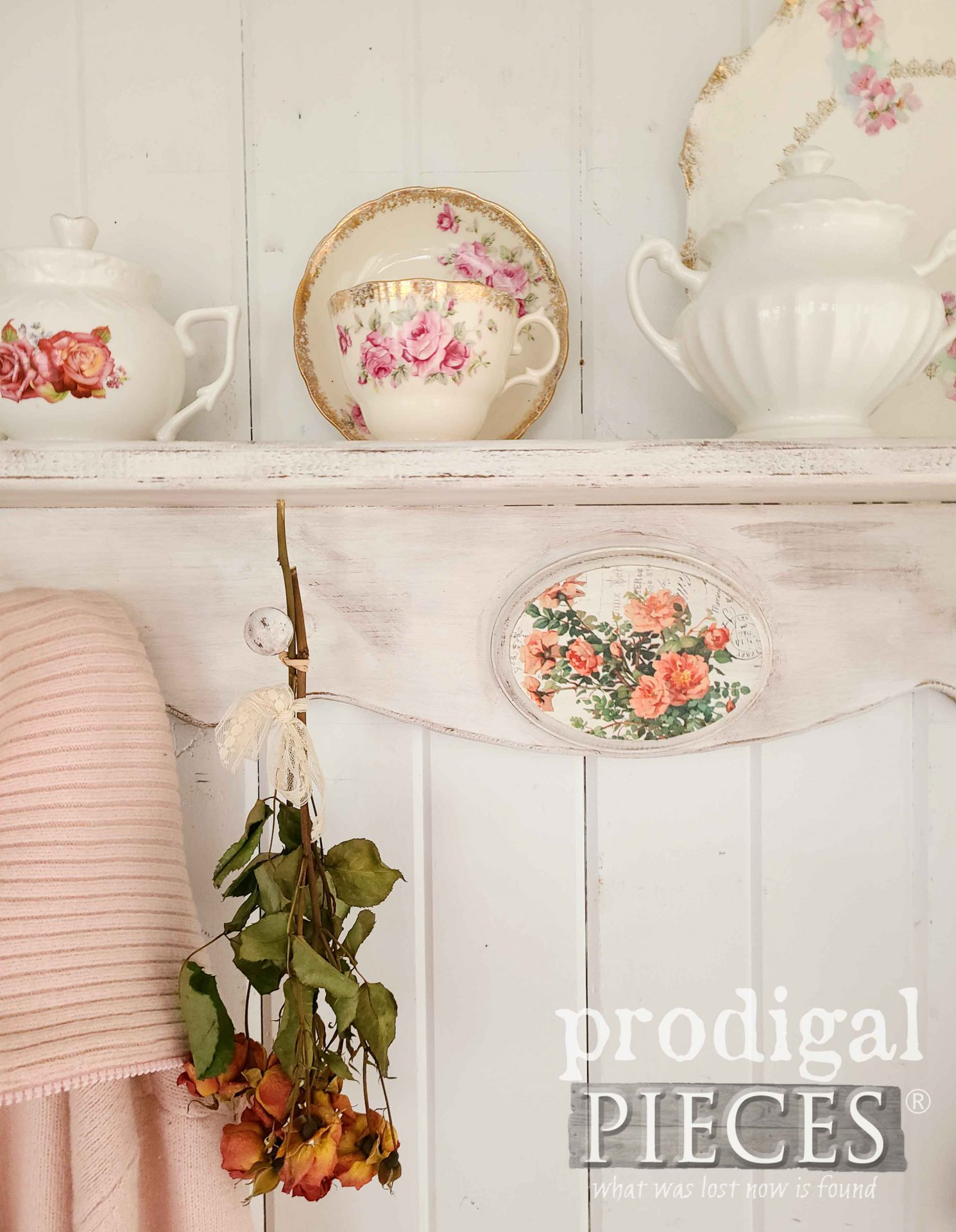 Shabby Chic Rose Decor ~ Thrift Decor Makeovers by Prodigal Pieces | prodigalpieces.com #prodigalpieces #rose #shabbychic #cottage