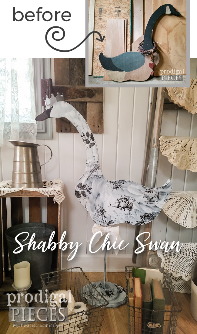 Sweet! This old prim goose got a shabby chic swan with whimsy. DIY details at Prodigal Pieces | prodigalpieces.com #prodigalpieces #shabbychic #home #homedecor #diy