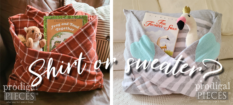 Shirt or Sweater Upcycled Pocket Pillow by Larissa of Prodigal Pieces | prodigalpieces.com #prodigalpieces #giftidea #sewing #refashion #diy #upcycled