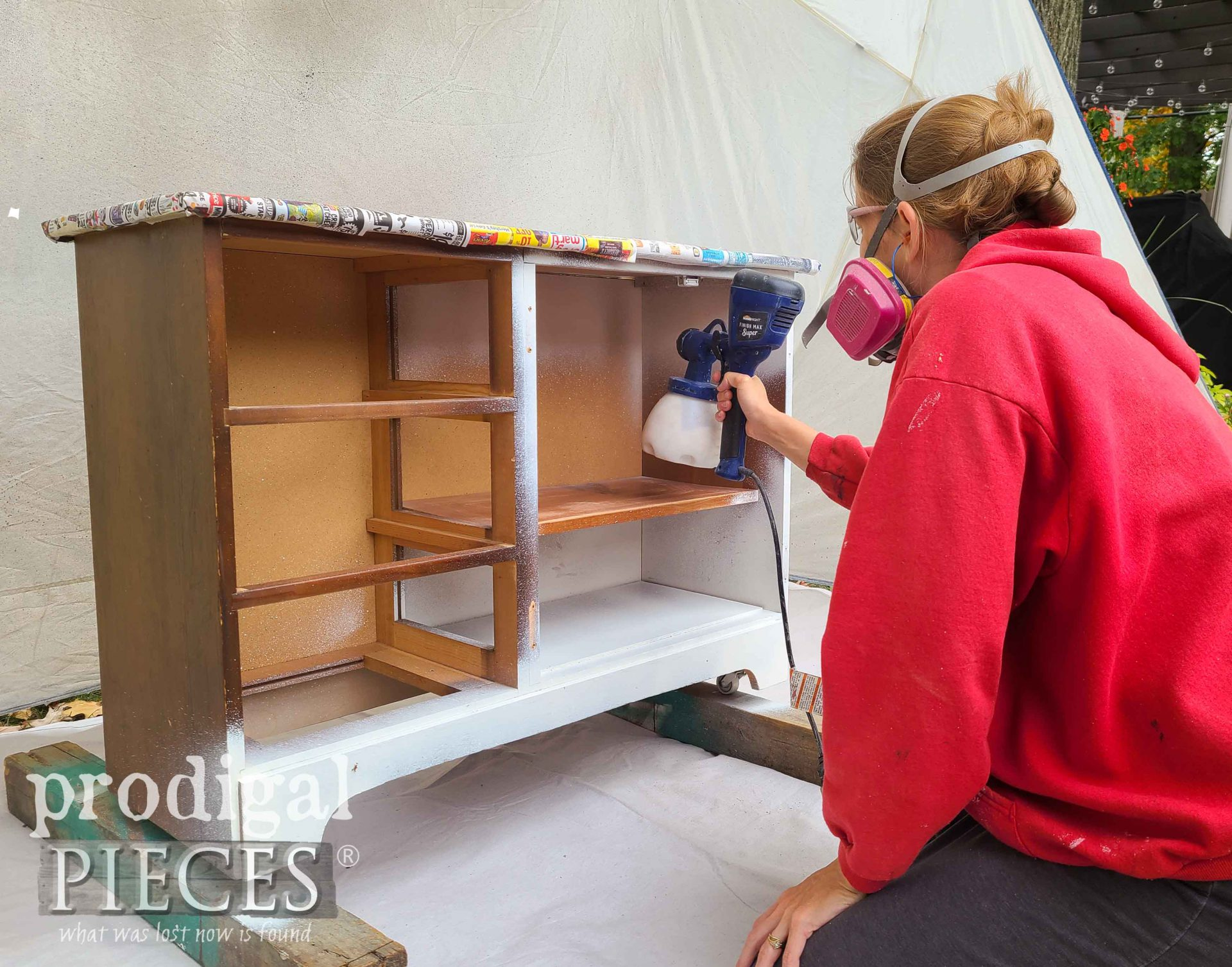 Spray Painting DIY Coffee Bar with HomeRight Super Finish Max by Larissa of Prodigal Pieces | prodigalpieces.com #prodigalpieces