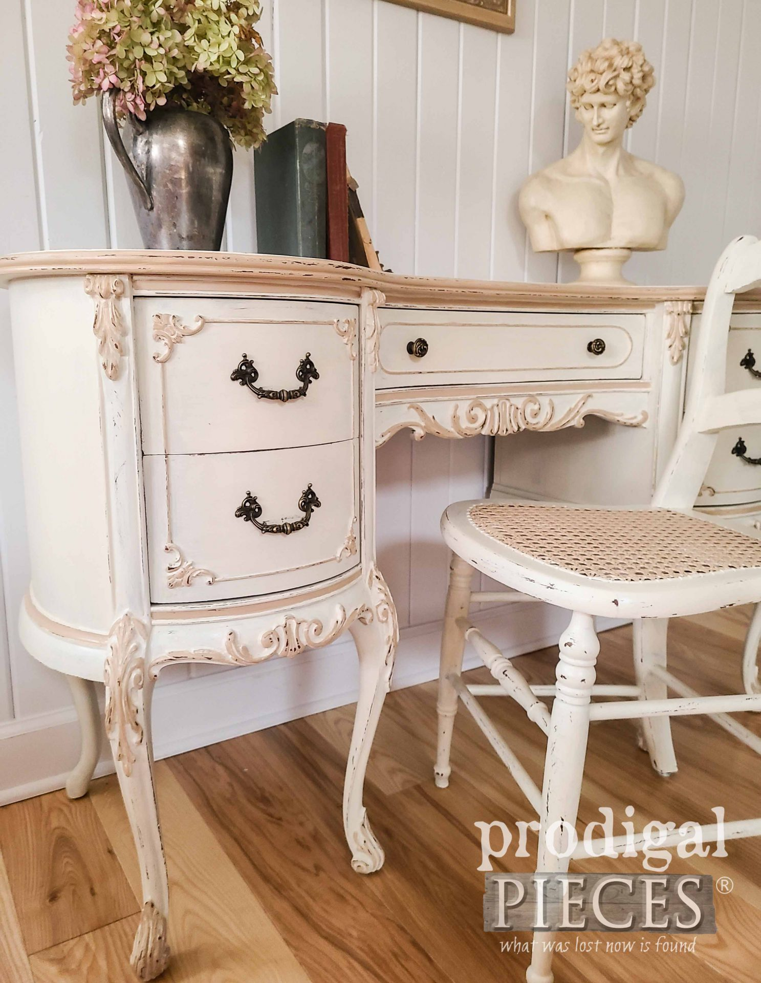 Vintage Kidney Desk Drawers on French Provincial Desk by Larissa of Prodigal Pieces | prodigalpieces.com #prodigalpieces #shabbychic #furniture #home