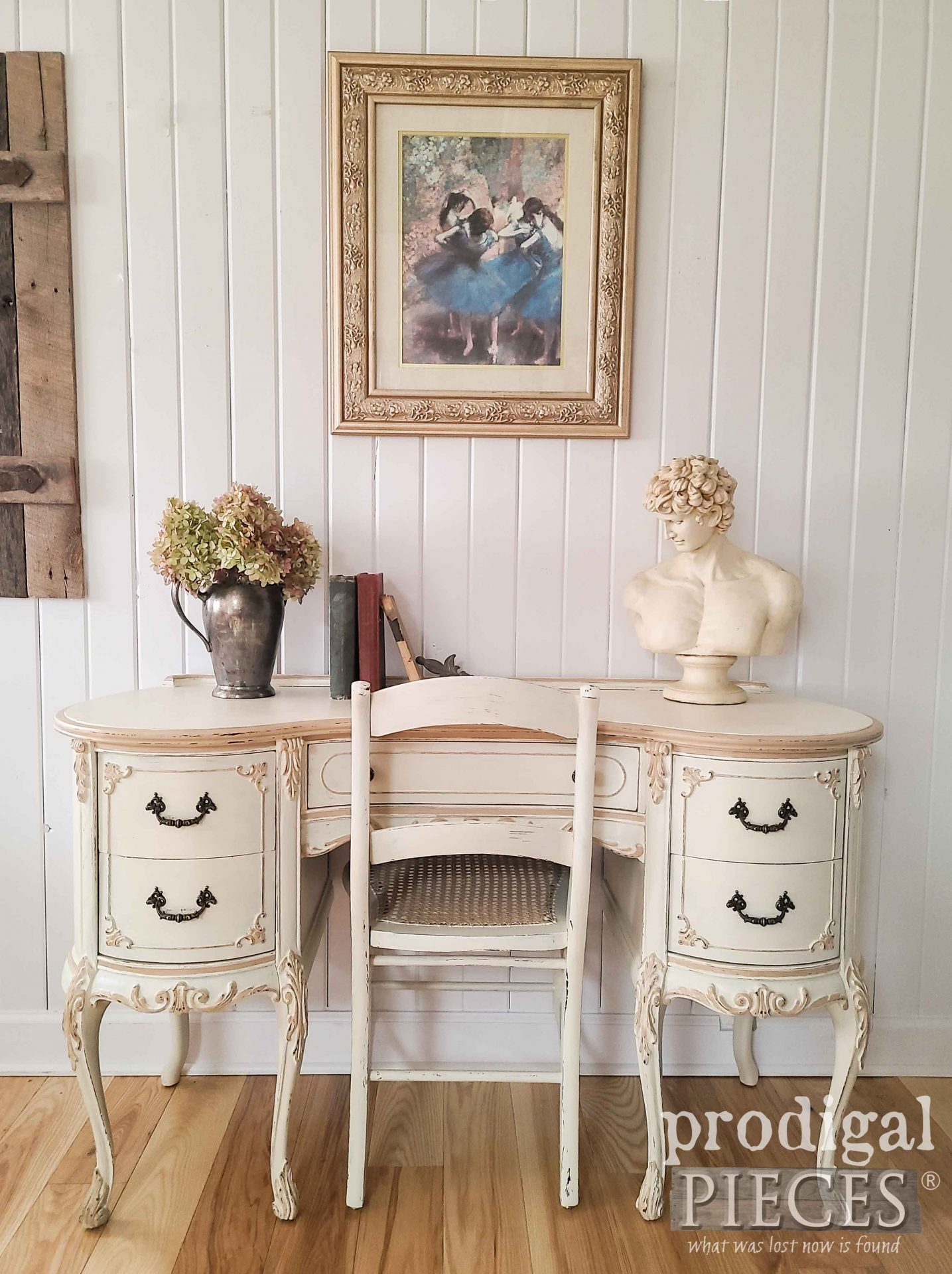 Antique White Vintage French Provincial Desk and Chair by Prodigal Pieces | prodigalpieces.com #prodigalpieces #furniture #shabbychic #home #homedecor