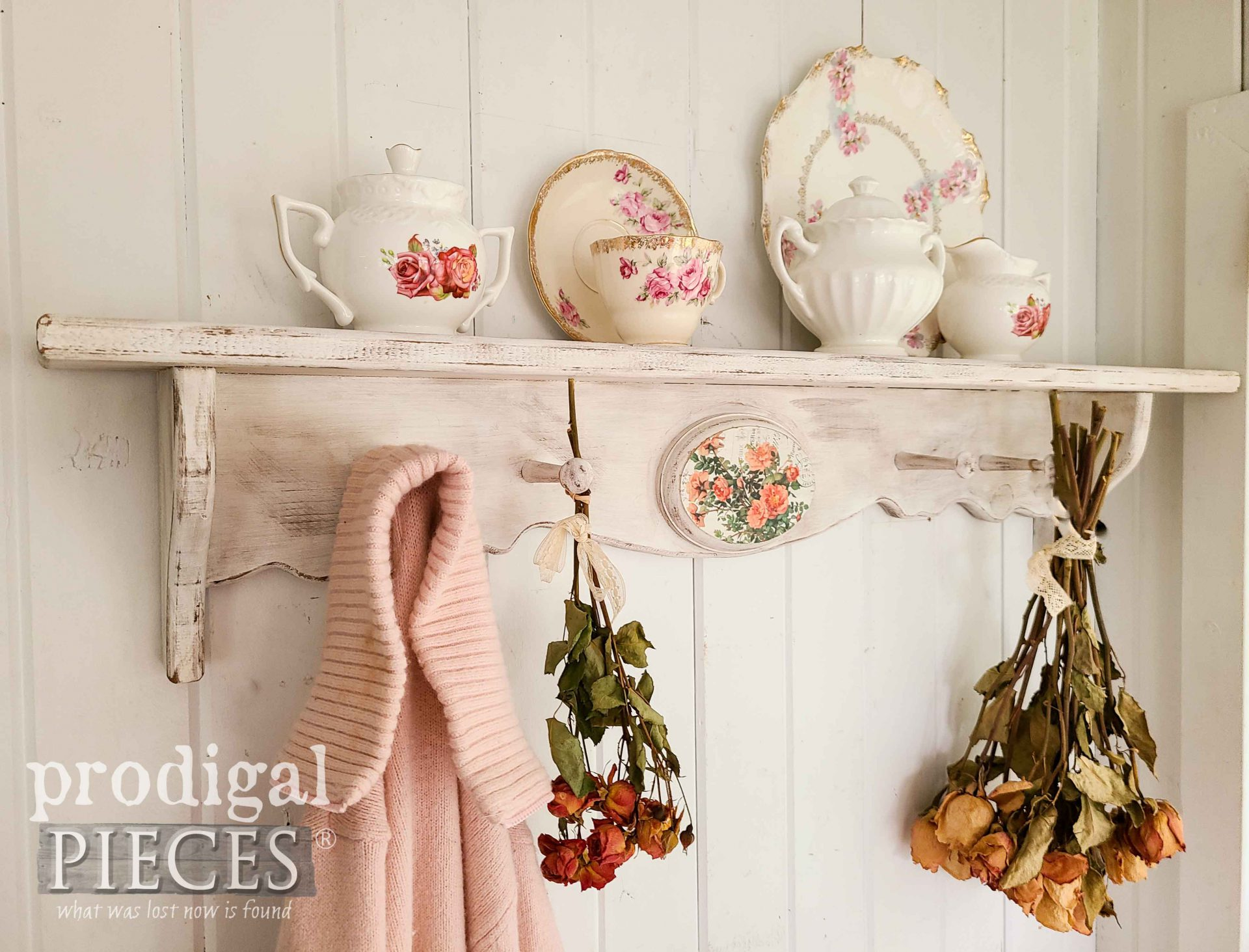 Vintage Rose Vignette for Thrifty Decor Makeovers by Larissa of Prodigal Pieces | prodigalpieces.com #prodigalpieces #shabbychic #vintage #rose