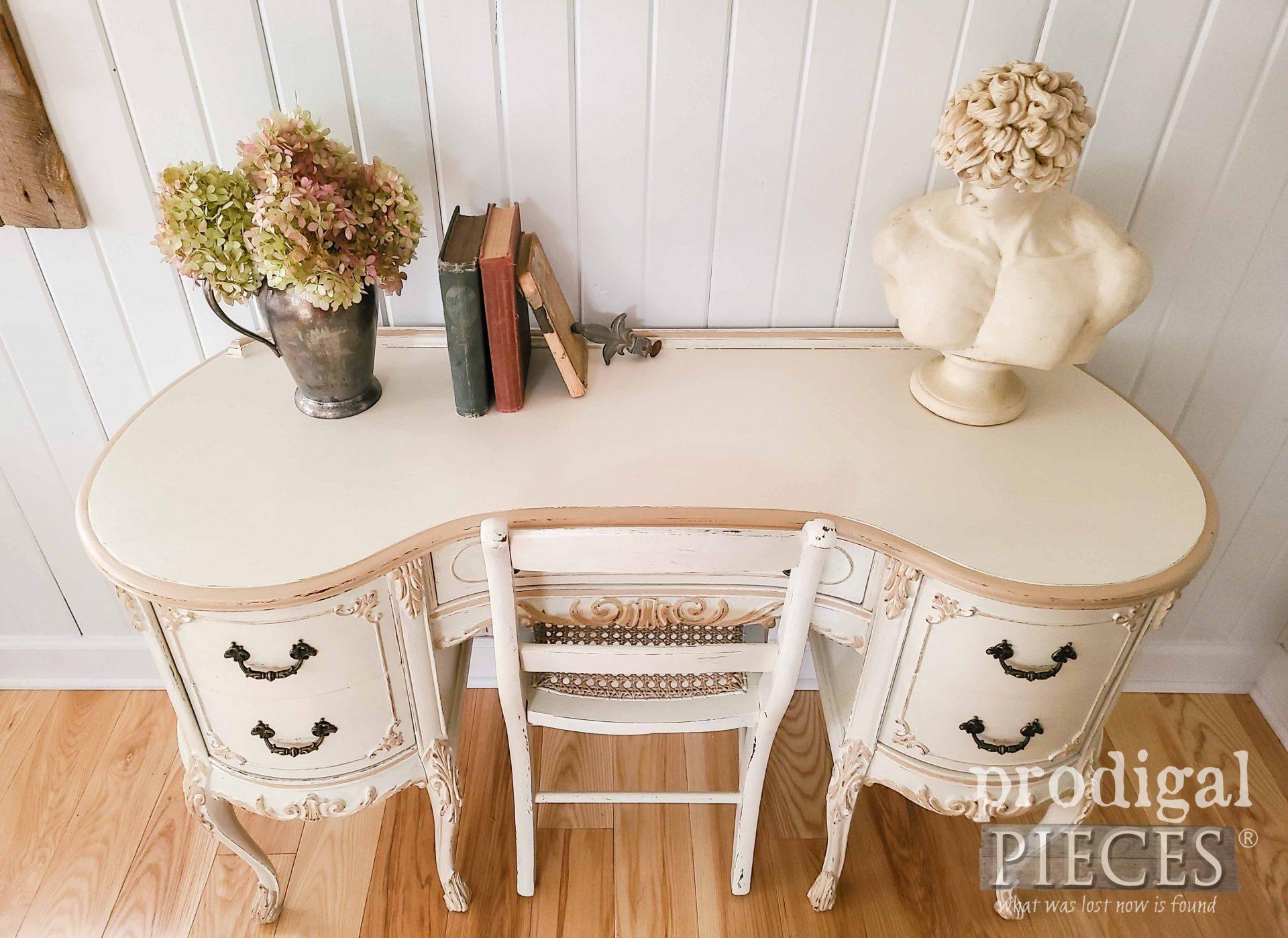 Gorgeous Antique White Kidney Desk Top Refinished by Larissa of Prodigal Pieces | prodigalpieces.com #prodigalpieces #furniture #shabbychic #desk #home #homedecor